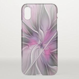 Coque iPhone X Gris abstrait moderne de rose de fleur de fractale