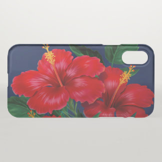 Coque iPhone X Hawaïen tropical de ketmie de paradis