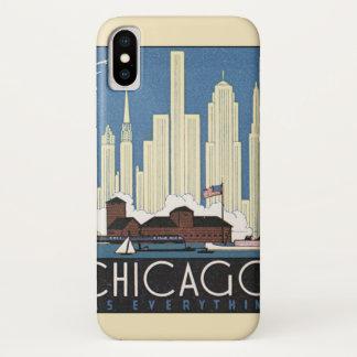 Coque iPhone X Horizon vintage de gratte-ciel de Chicago