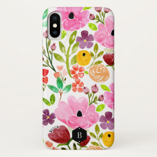 Coque iPhone X Impression florale colorée d'aquarelle