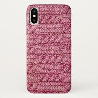 Coque iPhone X Knit câblé par fil rose
