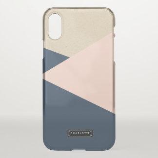 Coque iPhone X La marine géométrique et rougissent rose