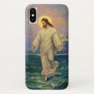 Coque iPhone X La religion vintage, Jésus-Christ marche sur l'eau