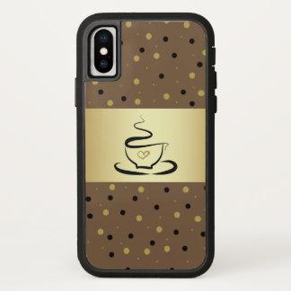 Coque iPhone X L'amour chaud noir de café pointille Brown d'or