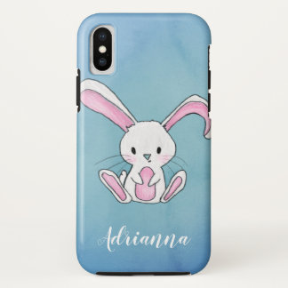 Coque iPhone X Lapin mignon dessinant le nom bleu d'aquarelle