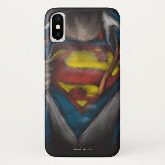 Coque iPhone X Le coffre de Superman   indiquent le croquis