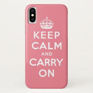 Coque iPhone X Le rose et le blanc gardent le calme et continuent