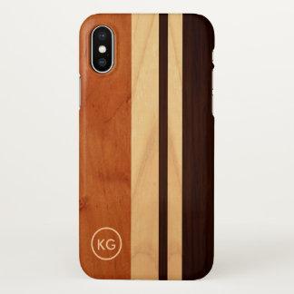 Coque iPhone X Les rayures en bois modernes de grain ont