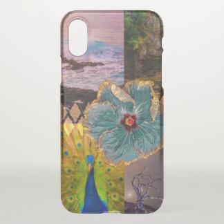 Coque iPhone X Lever de soleil de Poipu, collage hawaïen de paon