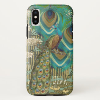Coque iPhone X Libellules vintages et Lilypads de paon