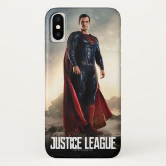 Coque iPhone X Ligue de justice   Superman sur le champ de