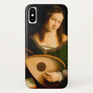 Coque iPhone X Madame Playing Lute Portrait Art de Bartolomeo