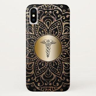 Coque iPhone X Mandala médical de feuille d'or de noir de caducée