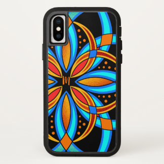 Coque iPhone X mandala orange bleu d'art numérique décoré d'un