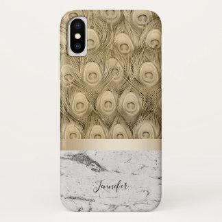 Coque iPhone X Marbre blanc d'or de plume moderne de paon avec le