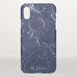 Coque iPhone X Marbre bleu élégant personnalisé