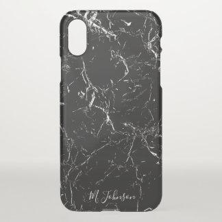 Coque iPhone X Marbre noir élégant personnalisé