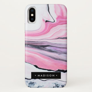 Coque iPhone X Marbre rose personnalisé