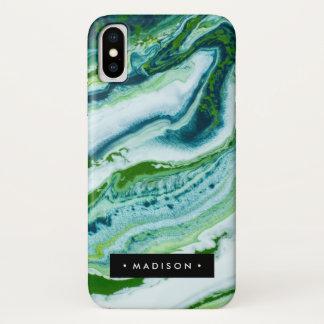 Coque iPhone X Marbre vert personnalisé