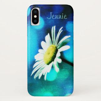 Coque iPhone X Marguerite dans le *Personalize* de turquoise