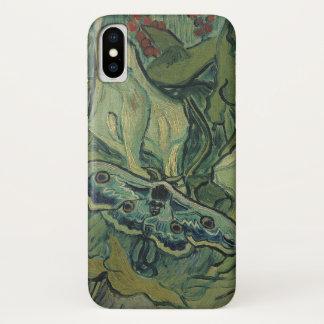 Coque iPhone X Mite verte de paon de Van Gogh (empereur),