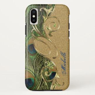 Coque iPhone X Monogramme chic d'ornement de remous d'or de paon