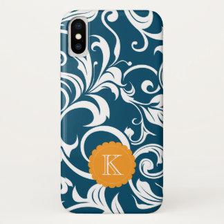 Coque iPhone X Monogramme de coutume de papier peint floral de
