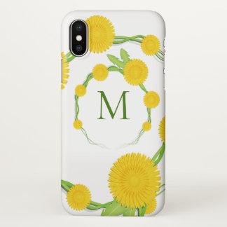 Coque iPhone X Monogramme   de fleur de pissenlit