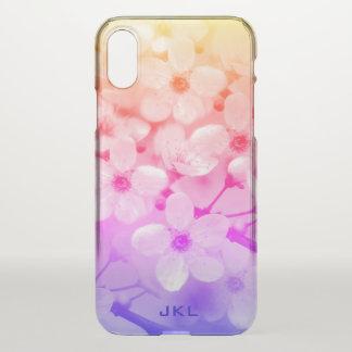 Coque iPhone X Monogramme de fleurs de cerisier d'arc-en-ciel