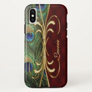 Coque iPhone X Monogramme en cuir royal d'ornement d'or de paon