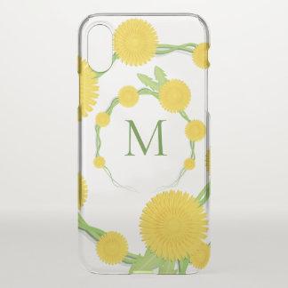 Coque iPhone X Monogramme floral   de pissenlit