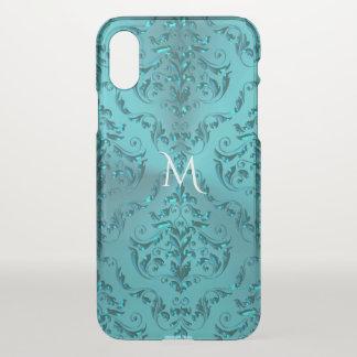 Coque iPhone X Monogramme métallique élégant de damassé de vert