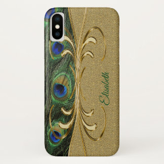 Coque iPhone X Monogramme moderne de plume de paon d'or