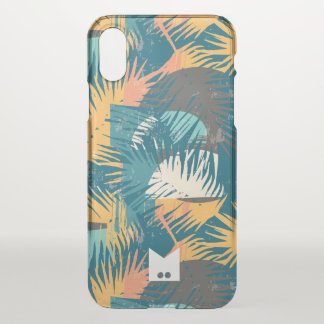 Coque iPhone X Monogramme. Motif tropical grunge moderne de paume