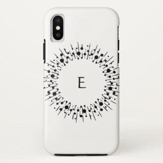 Coque iPhone X Monogramme personnalisé noir et blanc