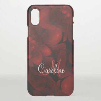 Coque iPhone X Monogramme rouge de fleur de velours