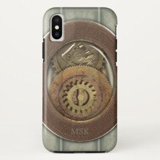 Coque iPhone X Monogramme rouillé de dents de Steampunk
