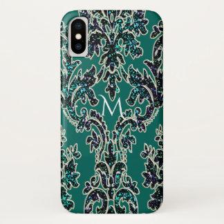 Coque iPhone X Monogramme turquoise d'impression de damassé de