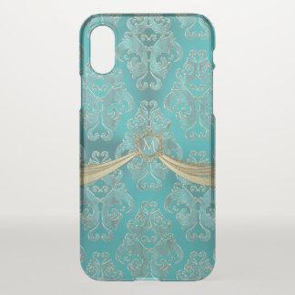 Coque iPhone X Monogramme vintage bleu de damassé d'Aqua doux