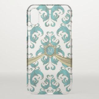 Coque iPhone X Monogramme vintage de damassé de vert bleu et de