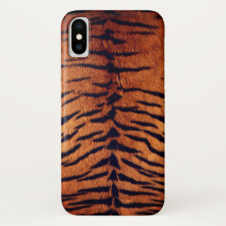 Coque iPhone X Motif animal orange et noir de fourrure exotique