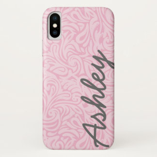 Coque iPhone X Motif floral à la mode avec le nom - rose et gris