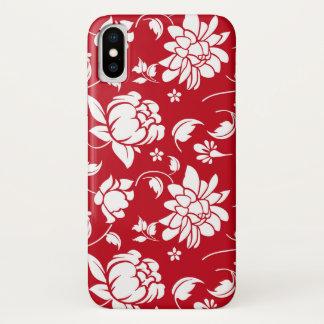 Coque iPhone X Motif floral rouge et blanc de damassés