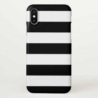 Coque iPhone X Motif noir et blanc audacieux de rayures