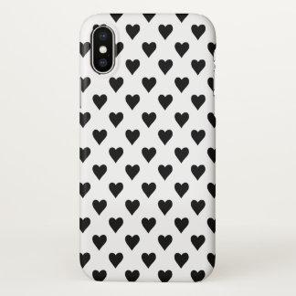 Coque iPhone X Motif noir et blanc de coeur