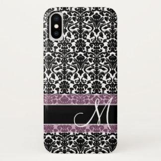 Coque iPhone X Motif noir et blanc de damassé avec le monogramme