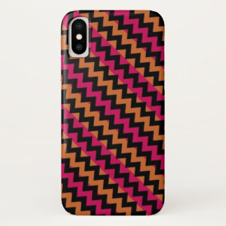 Coque iPhone X Motif rose orange noir de Chevron
