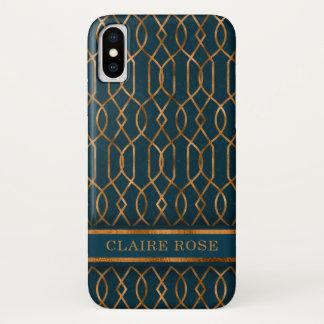 Coque iPhone X Motif turquoise géométrique chic de trellis d'or