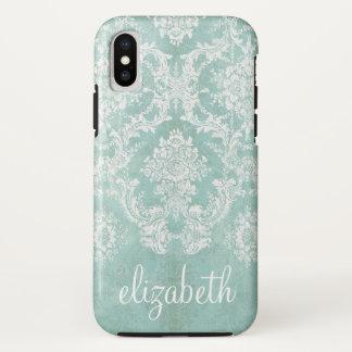 Coque iPhone X Motif vintage de damassé de bleu glacier avec la
