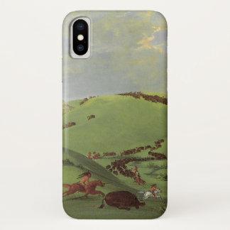 Coque iPhone X Natifs américains vintages, chasse de Buffalo par